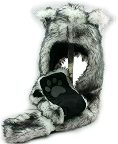 Animals Hat Scarf Gloves 3-in-1 Function Faux Fur Hoodie with Pockets Soft Cosplay Gift