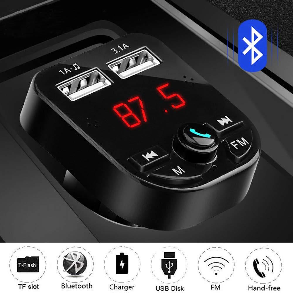 Negro Transmisor FM Bluetooth Cargador de Coche Heligen FM Radio Adaptador MP3 Player para Coche Manos Libres Kit con Doble Puerto 1A//3.1A