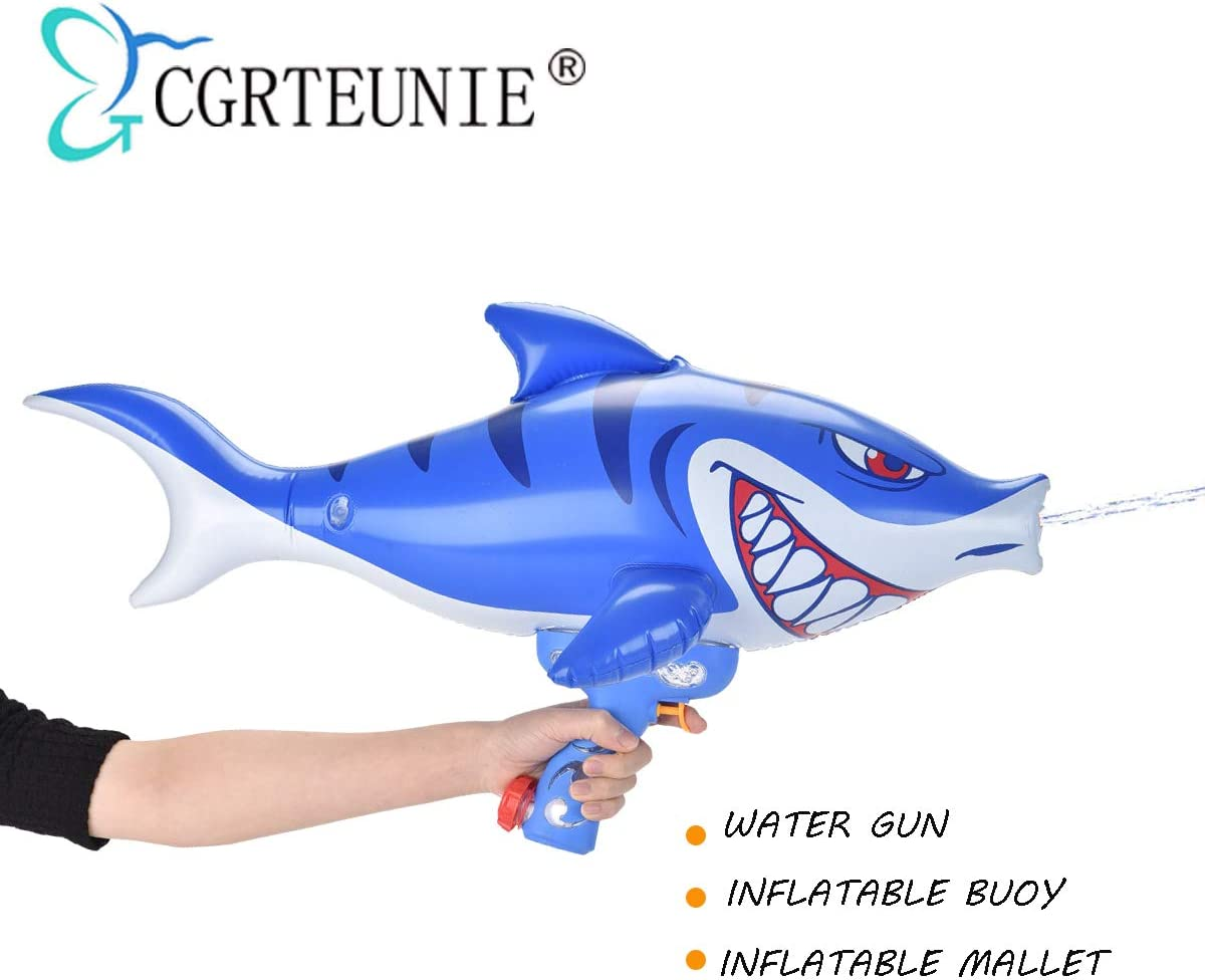 CGRTEUNIE Multifunction Squirt Water Gun Water Blaster Sprinkler with Baby Pool Swimming Float Buoy and Inflatable Hammer Function (Shark Squirt Gun)