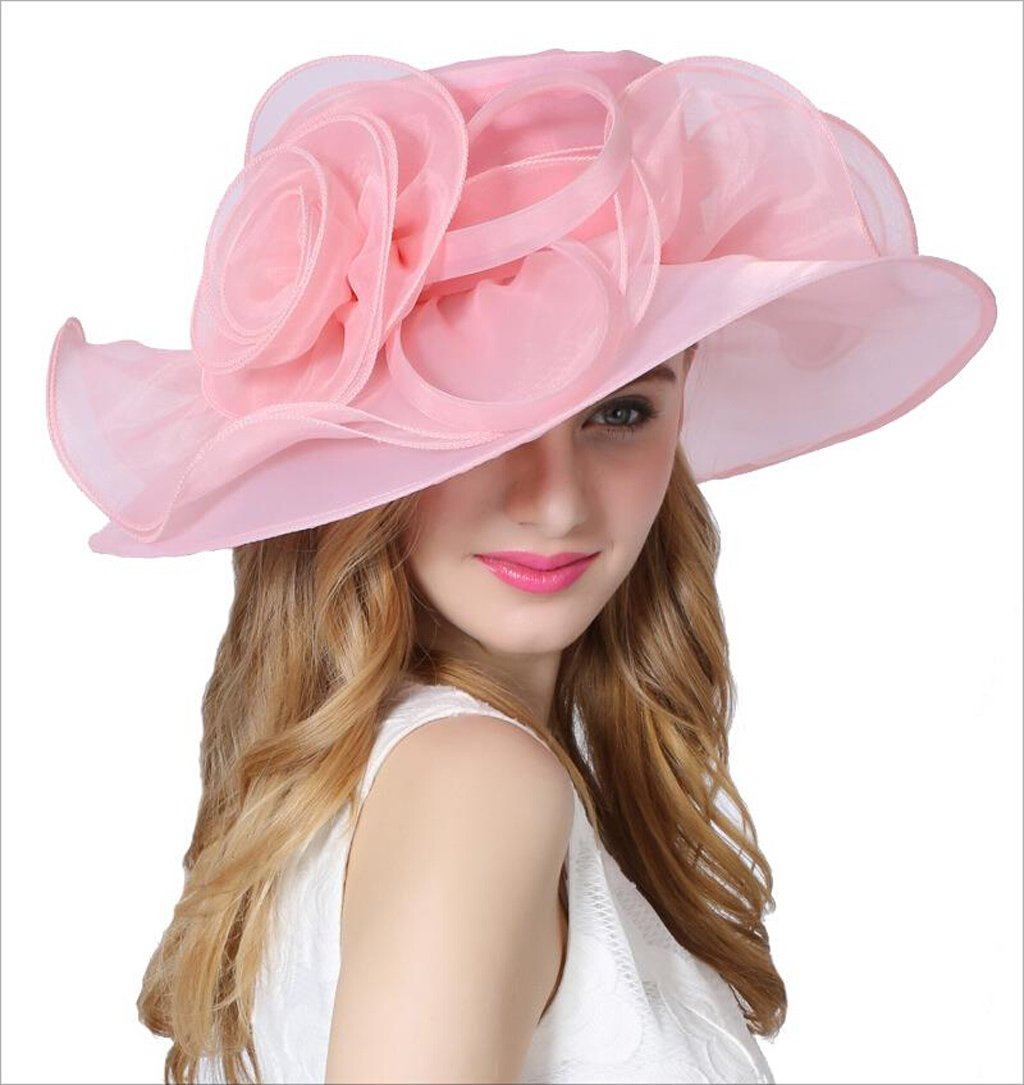 HU Women's Organza Hat Summer Flowers Large Brim Visor Hat Party Cap Pure Pink