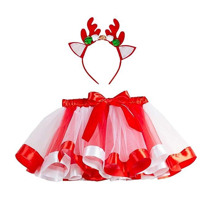 Amosfun Falda tutú navideña para niña elk Diadema Disfraz ...