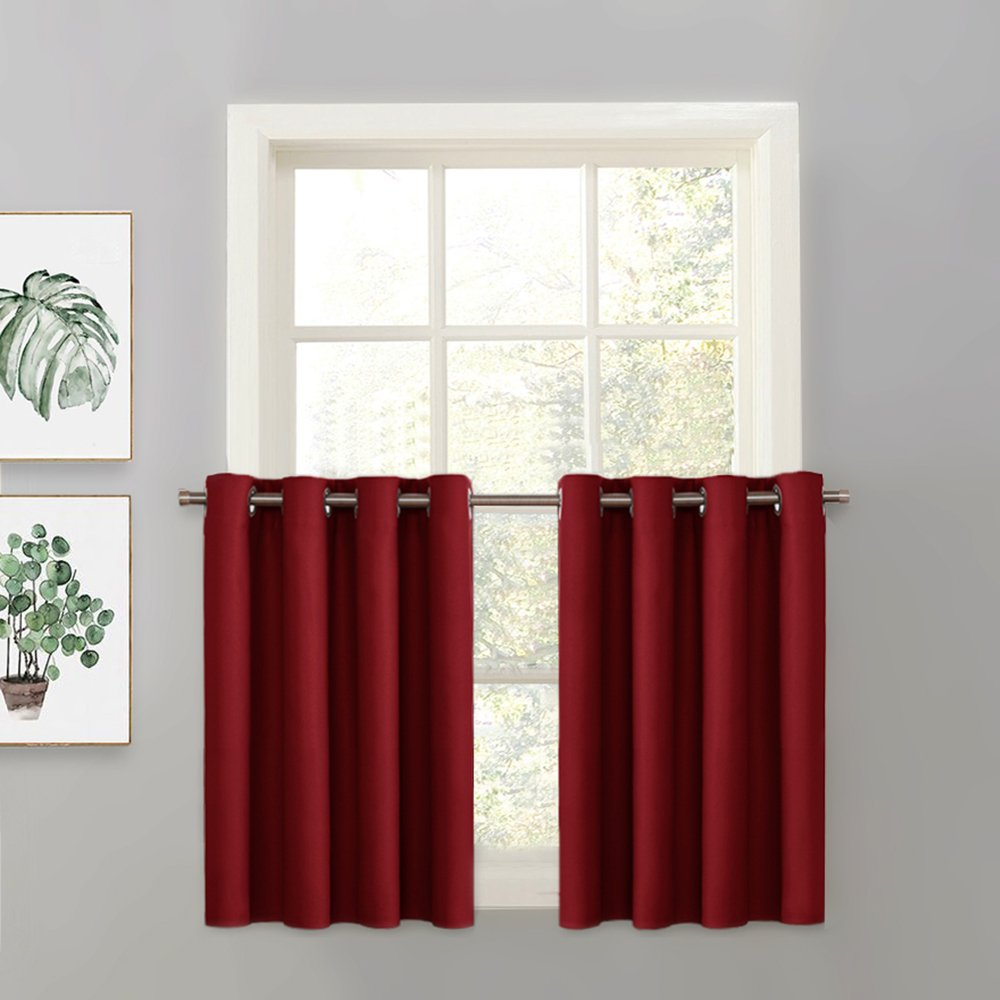 PONY DANCE Window Tier Valance - Home Decor Blackout Curtain Solid Color Grommet Drapery Valance Living Room Decoration, 52-inch 36-inch, Burgundy Red, 1 Pc