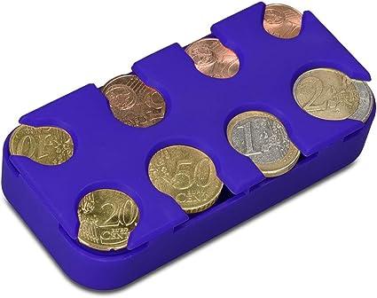 kwmobile Porta Monedas Euro - 8 Dispensadores de 1 céntimo a 2 Euros - Clasificador de monedas de la Unión Europea - azul: Amazon.es: Oficina y papelería