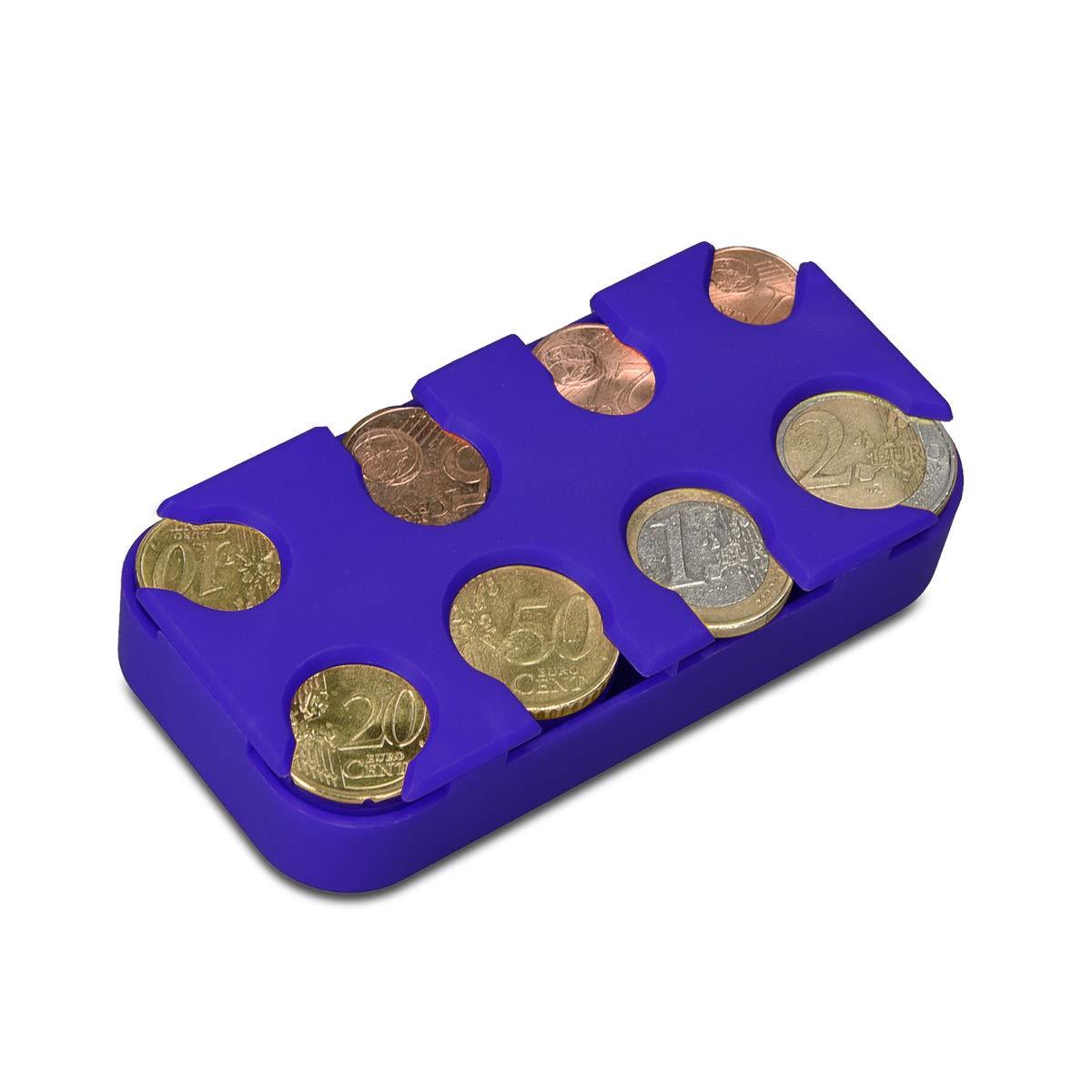 kwmobile Scatola Portamonete 8 Scomparti Box Organizer Porta Monete a Molla nero Slot x8 Monete da 1 Centesimo a 2 Euro