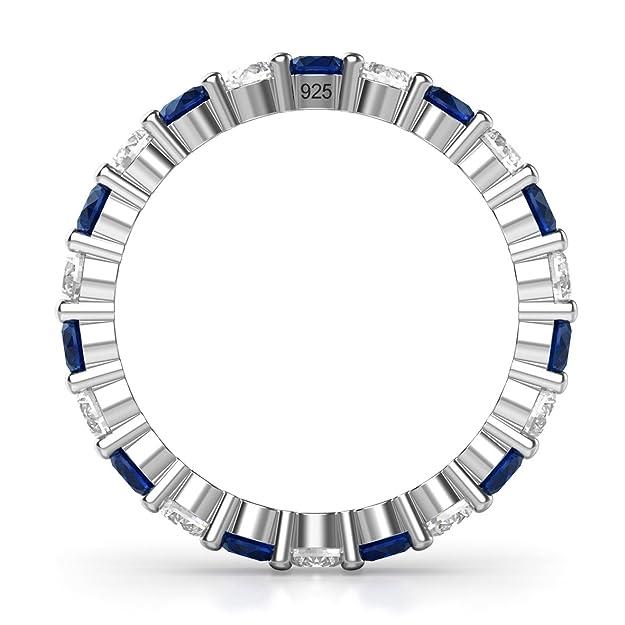 3.50MM Sterling Silver 925 White & Blue CZ Eternity Engagement Wedding Band Ring YXrHXvj