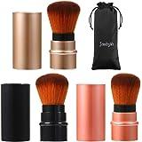 JewelryWe 3 Colors Cosmetic Beauty Makeup Minerals Powder Brush Travel Retractable Kabuki Brush,Foudation Blush Brush Cosmeti