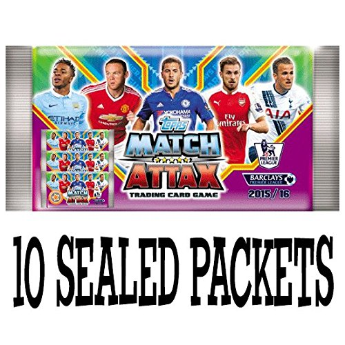 Topps Match Attax Barclays premier league 2015 2016 cards - 10 sealed booster packets (UK version)