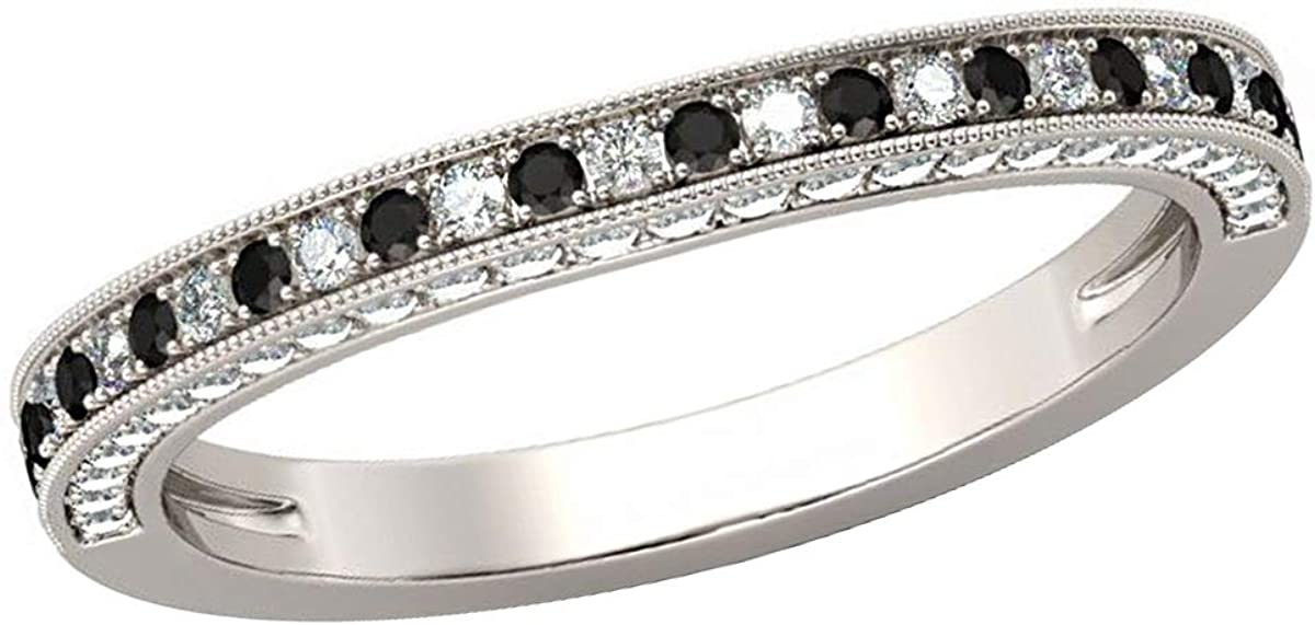 0.75 TCW Round Cut Simulated Diamond 14k White Gold Finish Wedding Band Half Eternity Ring