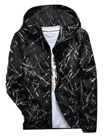 ca005f805 WANSHIYISHE Men's Slim Fit Zip-up Graffiti Hooded Lightweight Windbreaker  Jacket at Amazon Men's Clothing store: