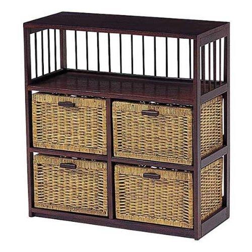 キャビランドリー チェスト アジアン家具 籐家具 RN-2516 収納BOX 収納ケース 枯淡/こたん B00839N12E