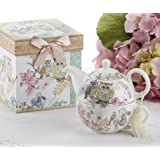 Delton Products Porcelain Tea for One with Decorative Gift Box, Owls