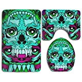 HOMESTORES Mexican Sugar Skulls Day Of The Dead Turquoise Dragon Totem Skidproof Toilet Seat U Shape Cover Bath Mat Lid Cover 3 Piece Non Slip Bath Rug Mats Sets For Shower SPA