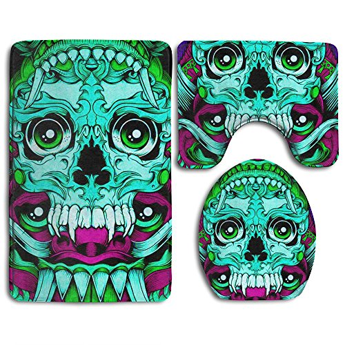 HOMESTORES Mexican Sugar Skulls Day Of The Dead Turquoise Dragon Totem Skidproof Toilet Seat U Shape Cover Bath Mat Lid Cover 3 Piece Non Slip Bath Rug Mats Sets For Shower SPA by HOMESTORES