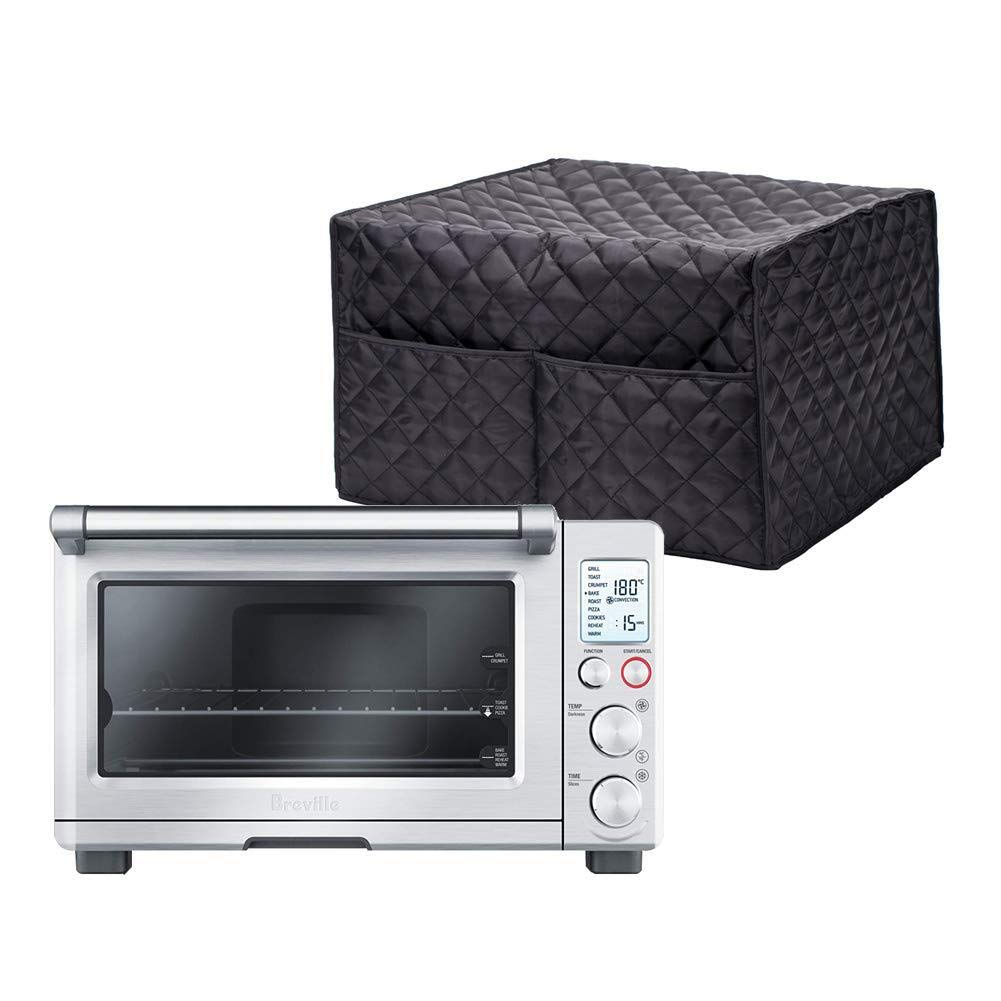Hallart Smart Oven Cover Convection Toaster Oven Cover Large Size Square Kitchen Appliance Cover Kitchen Appliance Case With With 2 Accessary Pockets, Machine Washable,Black