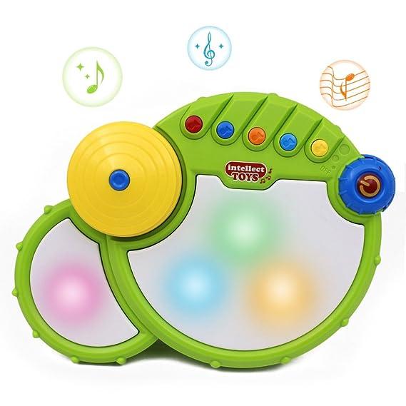 Tipo libro con función de Beby instrumento de percusión PopTunes Batería de juguete con efecto de gestión de música y de destello de luz de ion de litio ...