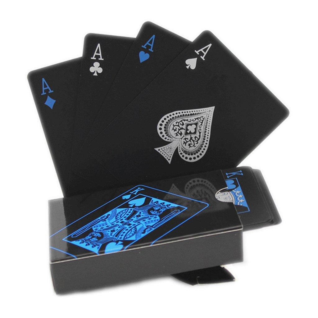 Carte da gioco nere Carte da poker impermeabili Carte da poker professionali Carte da gioco carte in plastica Poker plastico di alta qualità per il tuo piacere di poker (Nero) hopefultech