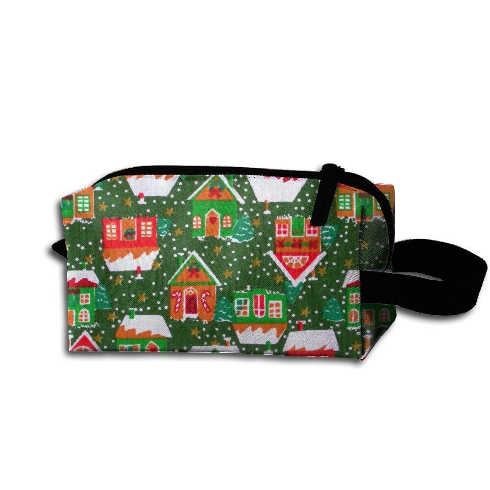 メイクアップコスメティックバッグクリスマス家パターンMedicine Bag Zip旅行ポータブルストレージポーチforメンズレディース   B07DWL912Q