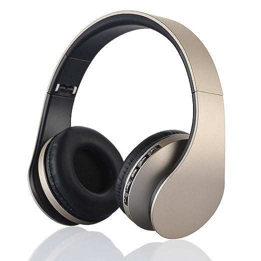 EONSMN Auriculares Plegables Inalambricos Bluetooth con soporte para Tarjeta MicroSD, Radio FM, Microfono para Manos Libres (Gold)