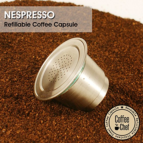 Coffee Chef Barista Set with Refillable Reusable Nespresso Capsule Stainless Steel Metal pod (Nespresso Stainless Steel Pods compare prices)