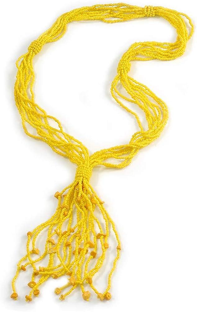 Avalaya Statement - Collar con cuentas de cristal amarillo plátano (66 cm, borla de 12 cm)