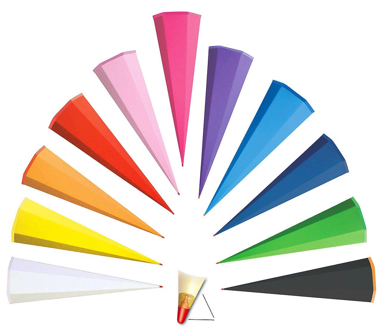 alles-meine.de GmbH Schultüte - Rohling - einfarbig / Bastelschultüte - kräftiges BLAU - 35 cm - rund - OHNE Tüll Abschluß - mit / ohne Kunststoffspitze ___ Zuckertüte ALLE Größe..