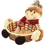 Covermason Christmas Candy Storage Xmas Decoration Ornament Santa/Snowman/Elk Basket Gift (Snowman 01, 15*15CM)