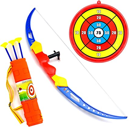 IT IF IT Bow and Arrow Set Bow Archery Set Soft Sucker Arrow with Target Outdoor Shooting Sports Kit for Kids over 3 Years Olds Blue