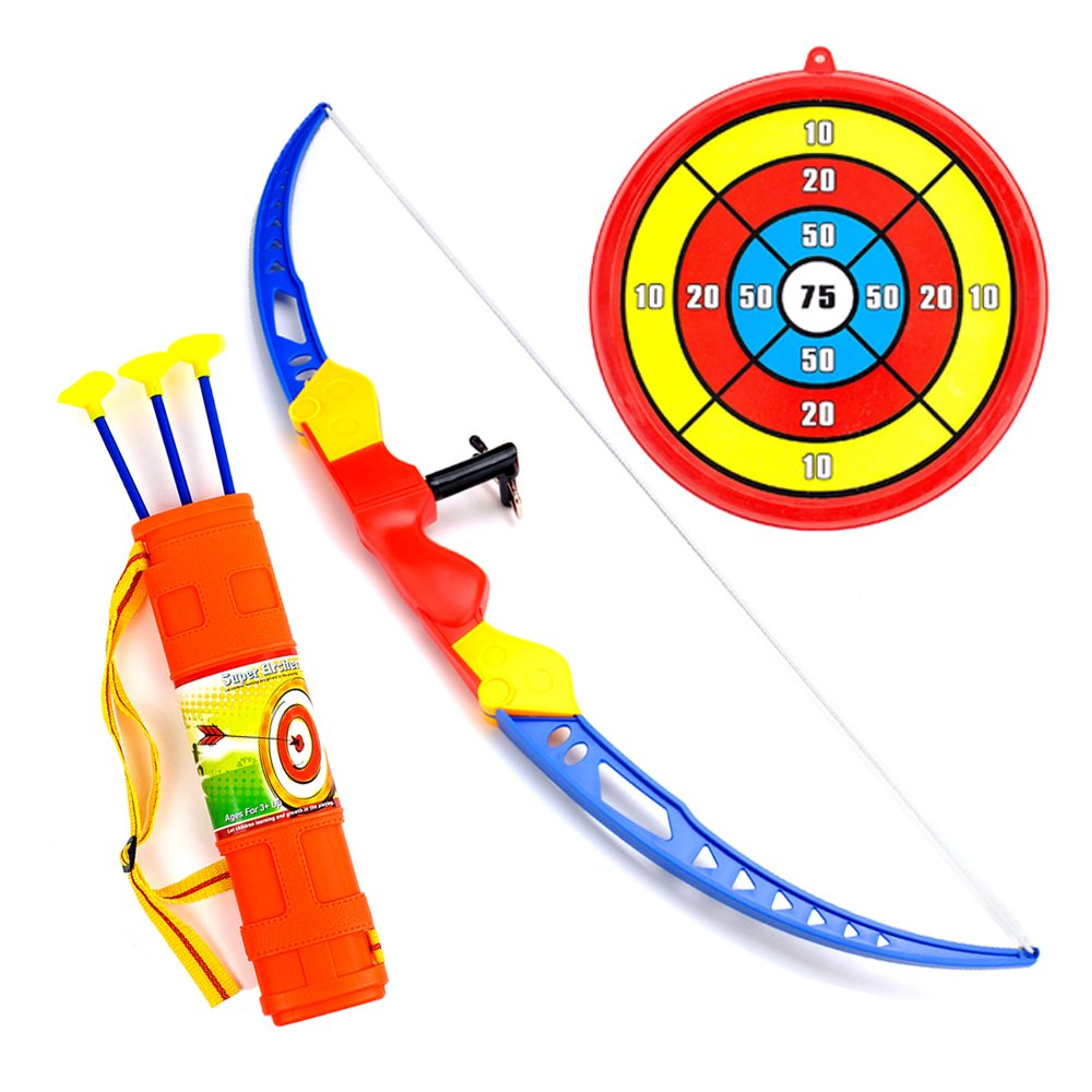 Kids Bow Arrow Set Super Action Archery Toy, Toxophily Outdoor Sport with Target, Shoulder Strapped Quiver And 3 Suction Cup, Safe Shooting Hunting Competition Game for Garden Park Fun