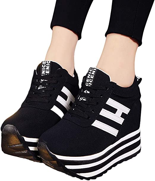 Gyouanime High Platform Shoes Women Lace Up Sneaker Canvas Wedge Thick Bottom Sport Shoes Loafers