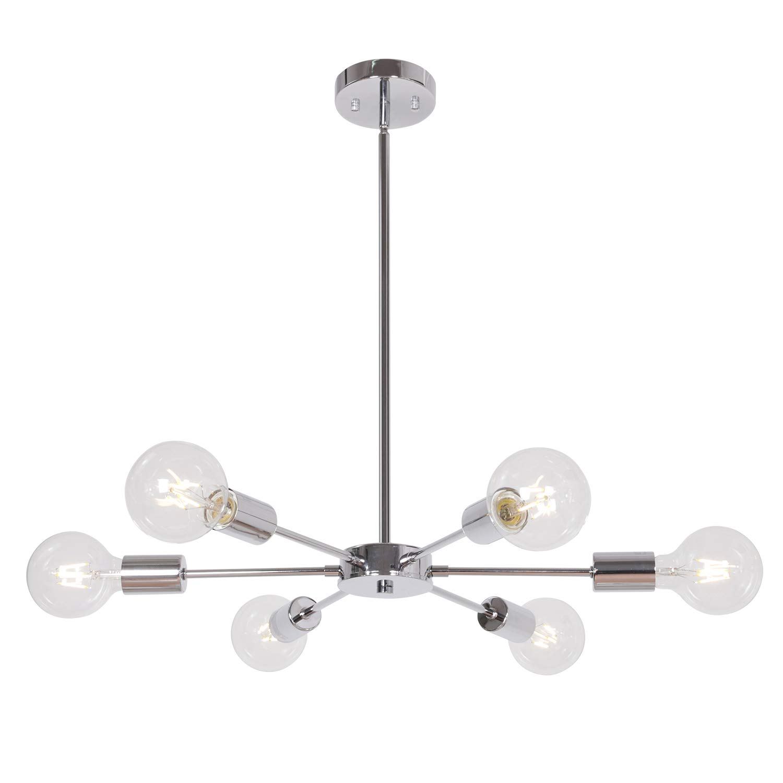 6-Light Sputnik Chandelier Lighting Chrome Metal Pendant Light Mid Century Modern Chandelier Ceiling Light Fixtures Flush Mount for Restaurant Foyer Bedroom by MELUCEE