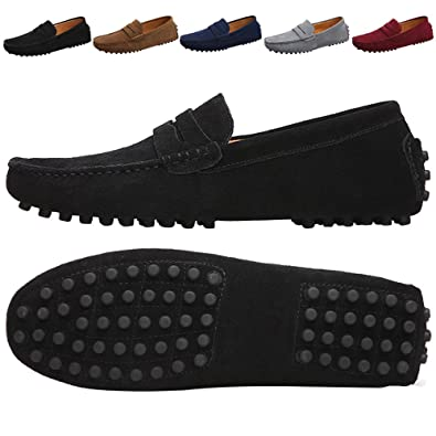 Men's Suede Moccasin Leather Casual Slip On Penny Loafers Dress Shoes