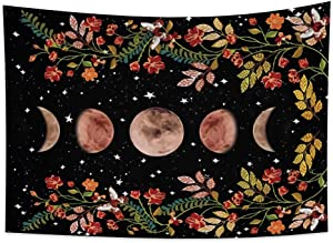 OERJU 59.1x39.4 Inch Moonlit Garden Tapestry Moon Phase Blossom Flowers Vine Watercolor Pattern Starry Sky Balck Nature Landscape Wall Hanging Home Decoration Hall Tablecloth Mattress