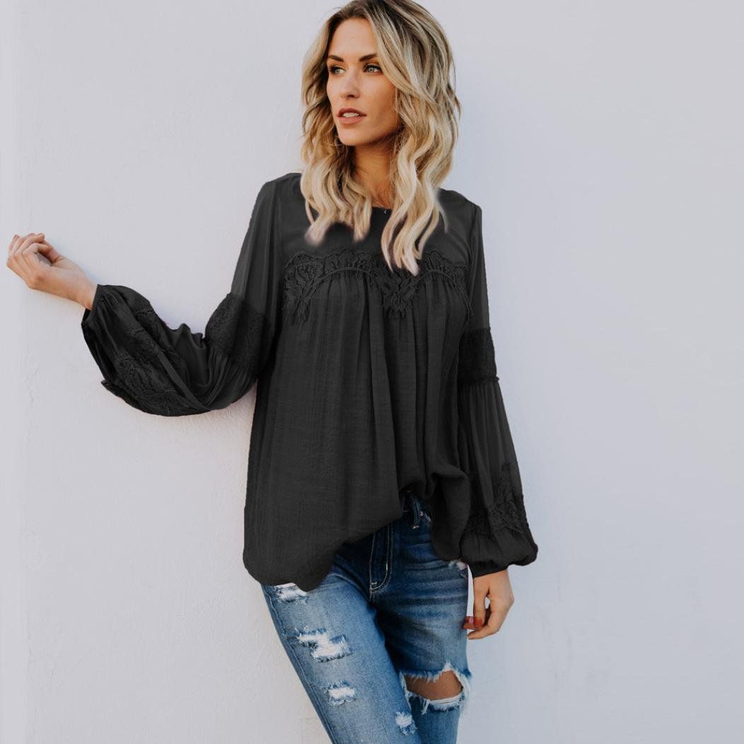 SMALLE ◕‿◕ Clearance, Women Summer Beach Long Sleeve Blouse Casual Loose Tops T-Shirt at Amazon Womens Clothing store: