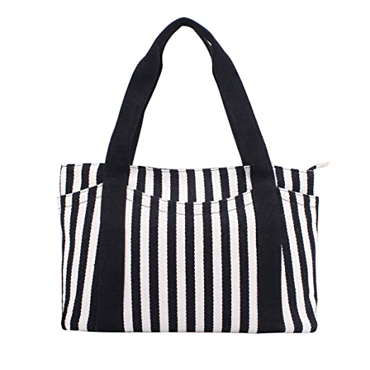 Amazoncom Canvas Tote Bag With Multiple Pocketzipper Closure