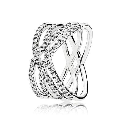 d7a794287 Pandora Women Silver Piercing Ring - 196401CZ-58: Amazon.co.uk: Jewellery