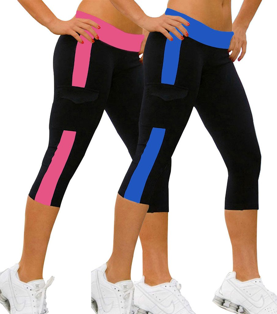 iLoveSIA 2PACK Women's Capri Yoga Running Pants Leggings Blue+Rose S