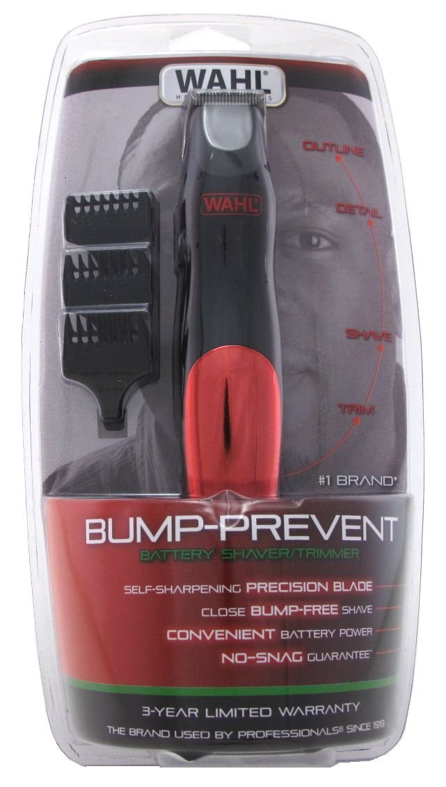 Wahl trimmer bump-prevent battery shaver/trimmer, 8.95 Ounce Red 9906-4101