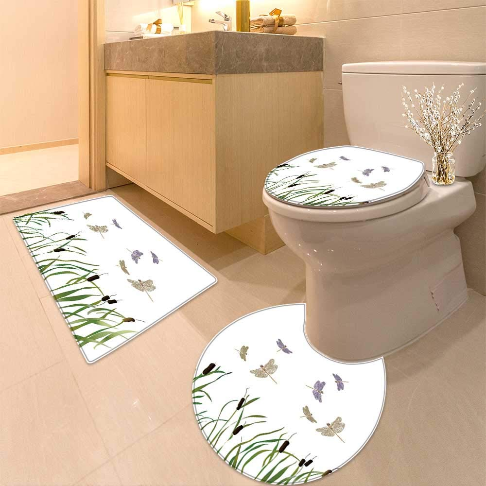 HuaWuhome 3 Piece Extended Bath mat Set Country Flying Small Dragonflies Over Tall Reeds Botanical Environmental isan Graphic Work Increase