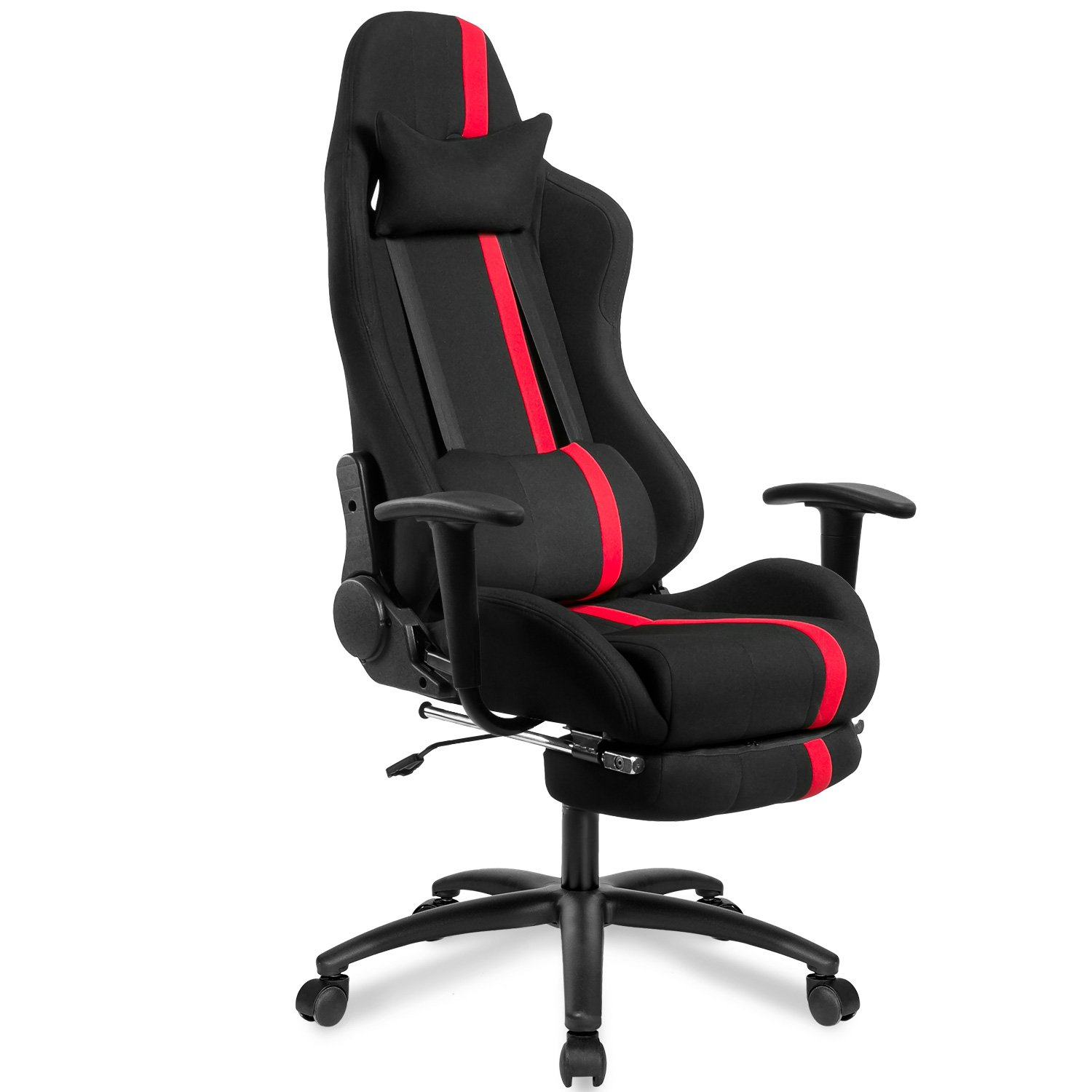 Merax High Back Executive Mesh Racing Chair Ergonomic Series Reclining Office Chair with Back Support and Footrest (red)
