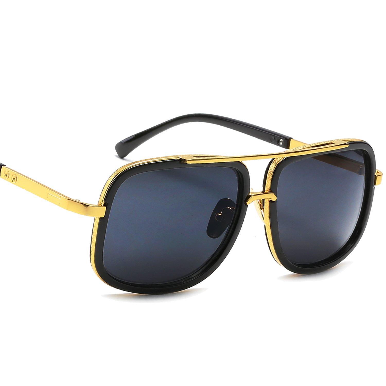 fbfa1c37f2b3d Amazon.com  Eyerno Retro Aviator Sunglasses For Men Women Vintage Square  Designer Sun Glasses(Black)  Clothing