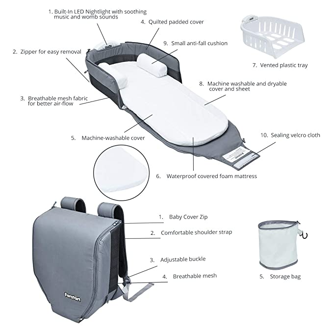 Amazon.com: Bassinet portátil 4 en 1 con luz y música, cuna ...