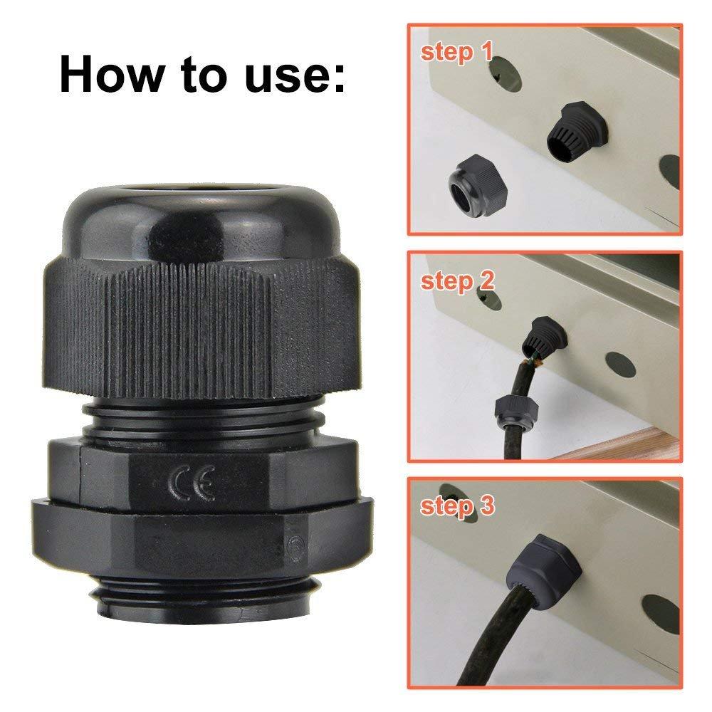20 Pi/èces PG7 En Plastique /Étanche R/églable 3-6.5mm Connectique Presse-/Étoupe Connecteurs Presse-/Étoupe Joints avec Joints