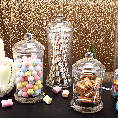 - Efavormart 3 Pack | Clear Glass Apothecary Jars Candy Buffet Containers with Lids for Wedding Party Favor Decor - 7