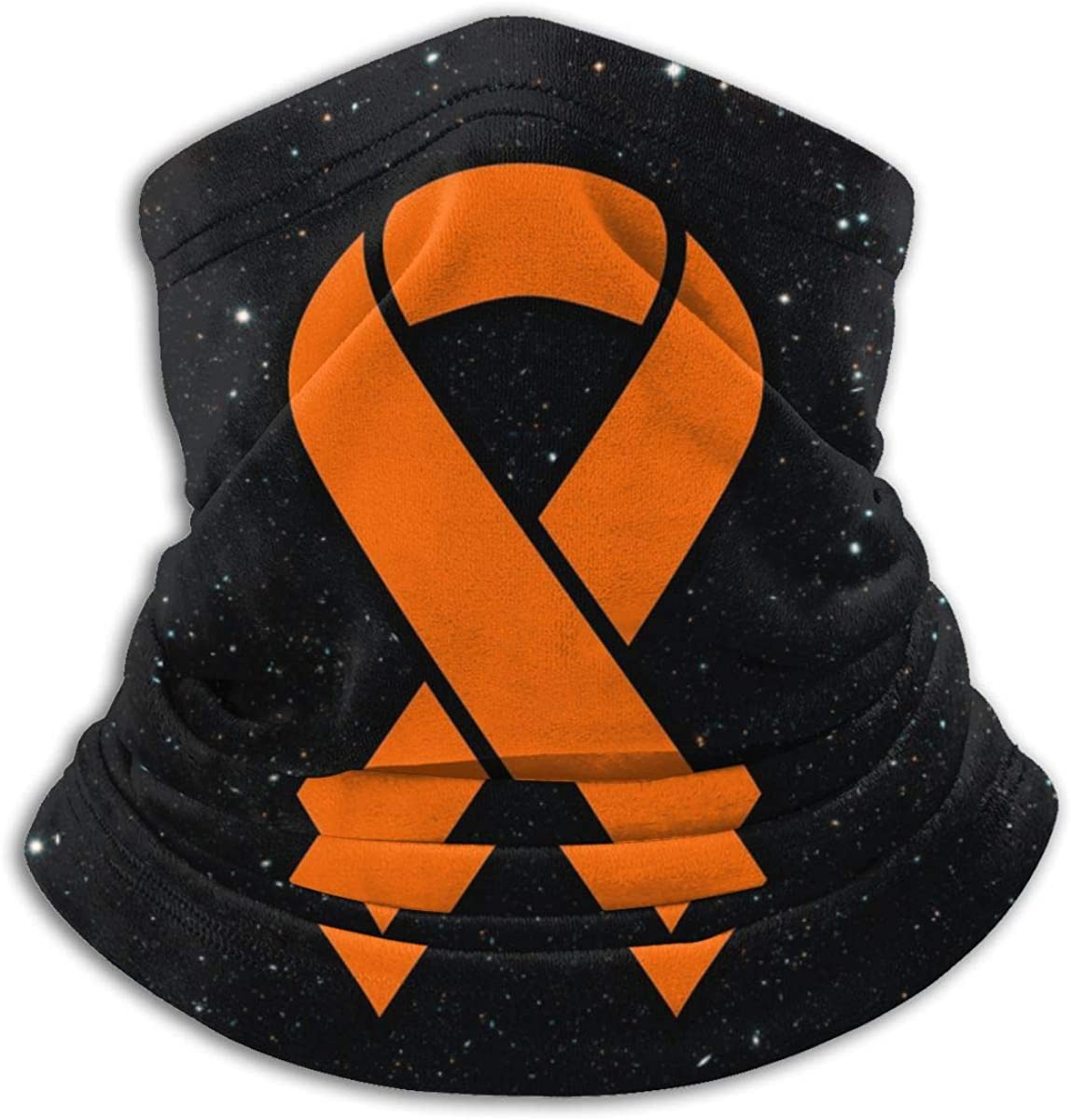 Orange Kidney Cancer and Leukemia Ribbon Unisex Bandana Face Mask Warmer Neck Tube for Dust Wind Sun Protection