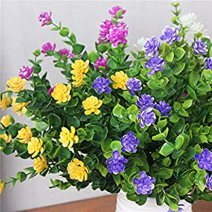 CQURE Artificial Flowers, Fake Flowers Artificial Greenery UV Resistant Plants Eucalyptus Outdoor Bridal Wedding Bouquet for Home Garden Party Wedding Decoration 5 Bunches (Yellow) 2