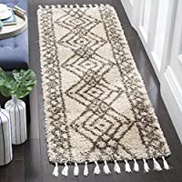Safavieh Moroccan Fringe Shag Collection MFG248C Mushroom Taupe and Grey Runner Rug (23 x 7)