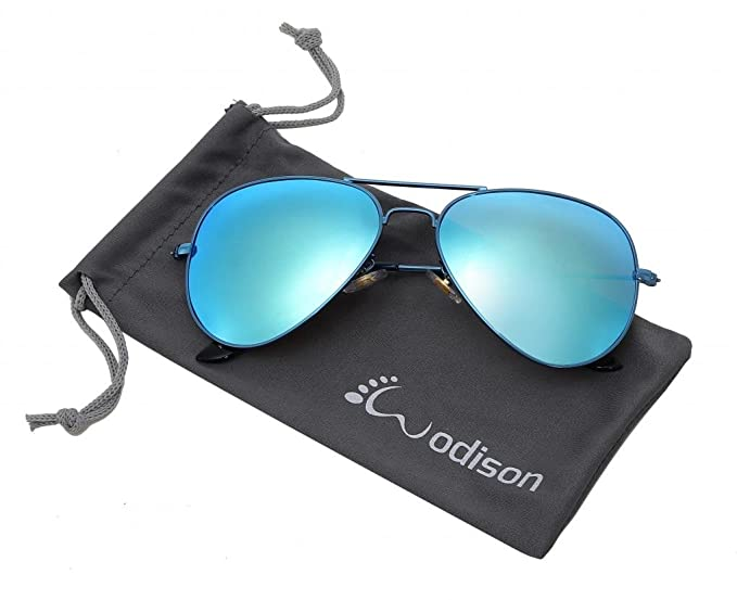 e54aa6c3027df WODISON Vintage Mirrored Aviator Sunglasses for Men Women Blue Frame Blue  Lens