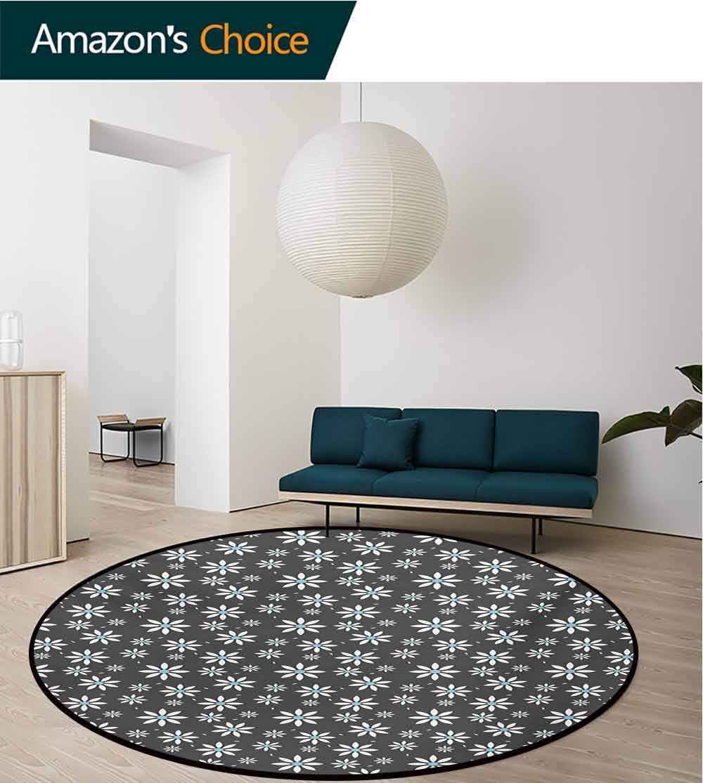 RUGSMAT Floral Modern Machine Washable Round Bath Mat,Blooming Spring Flowers Abstract Simplistic Design Nature Composition Non-Slip Soft Floor Mat Home Decor,Diameter-55 Inch Pale Blue Grey White