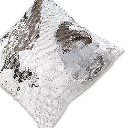 Wonder4 Reversible Sequin Pillow Case, Mermaid Pillow Case, ( Rice White, Silver Sequins ), 16 x 16
