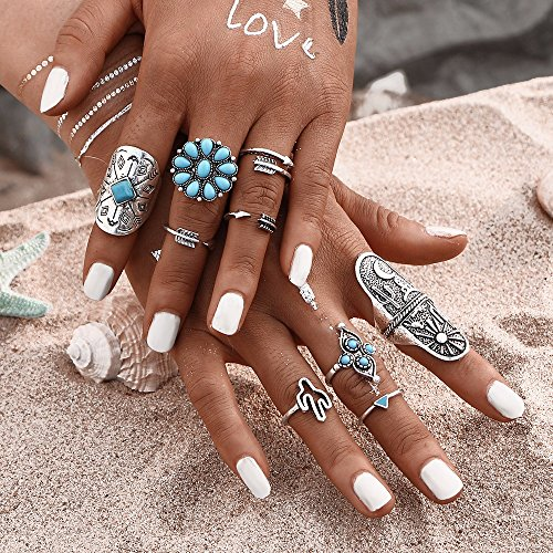 Vintage Creations Vintage Earrings (9Pcs/ turquoise Bohemian Ring Set Vintage Steampunk Cross flowers Anillos Ring Knuckle Rings)